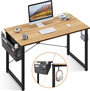 Computer Writing Desk 47 inch, Sturdy Home Office Table, Work Desk with A Storage Bag and Headphone Hook, Walnut