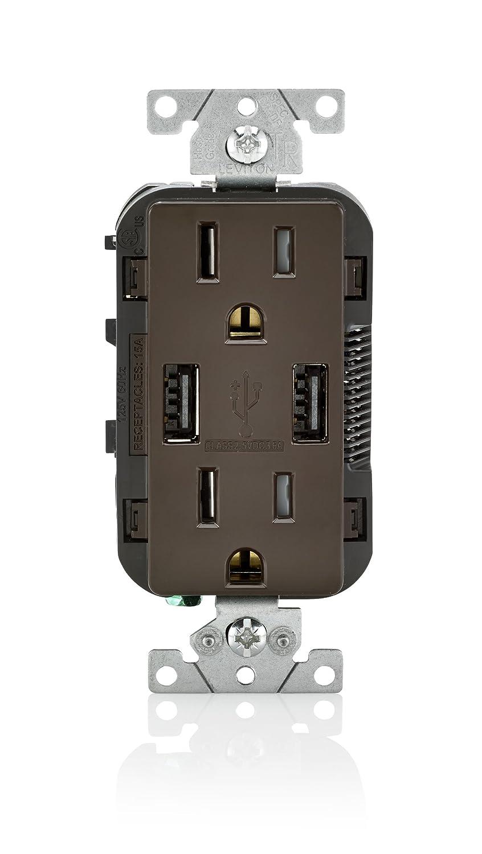 Leviton T5632 15-Amp USB Charger/Tamper Resistant Duplex Receptacle, Brown
