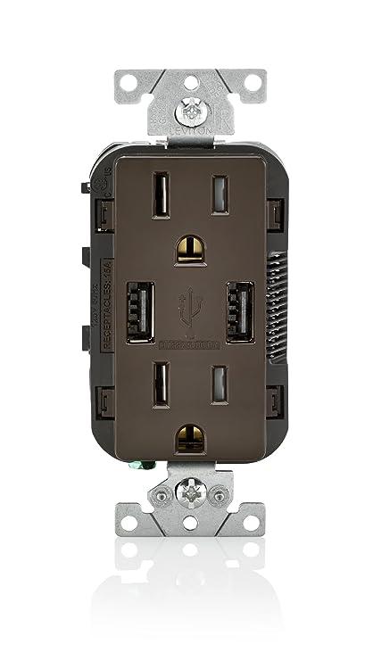 Leviton T5632 15-Amp USB Charger/Tamper Resistant Duplex Receptacle ...