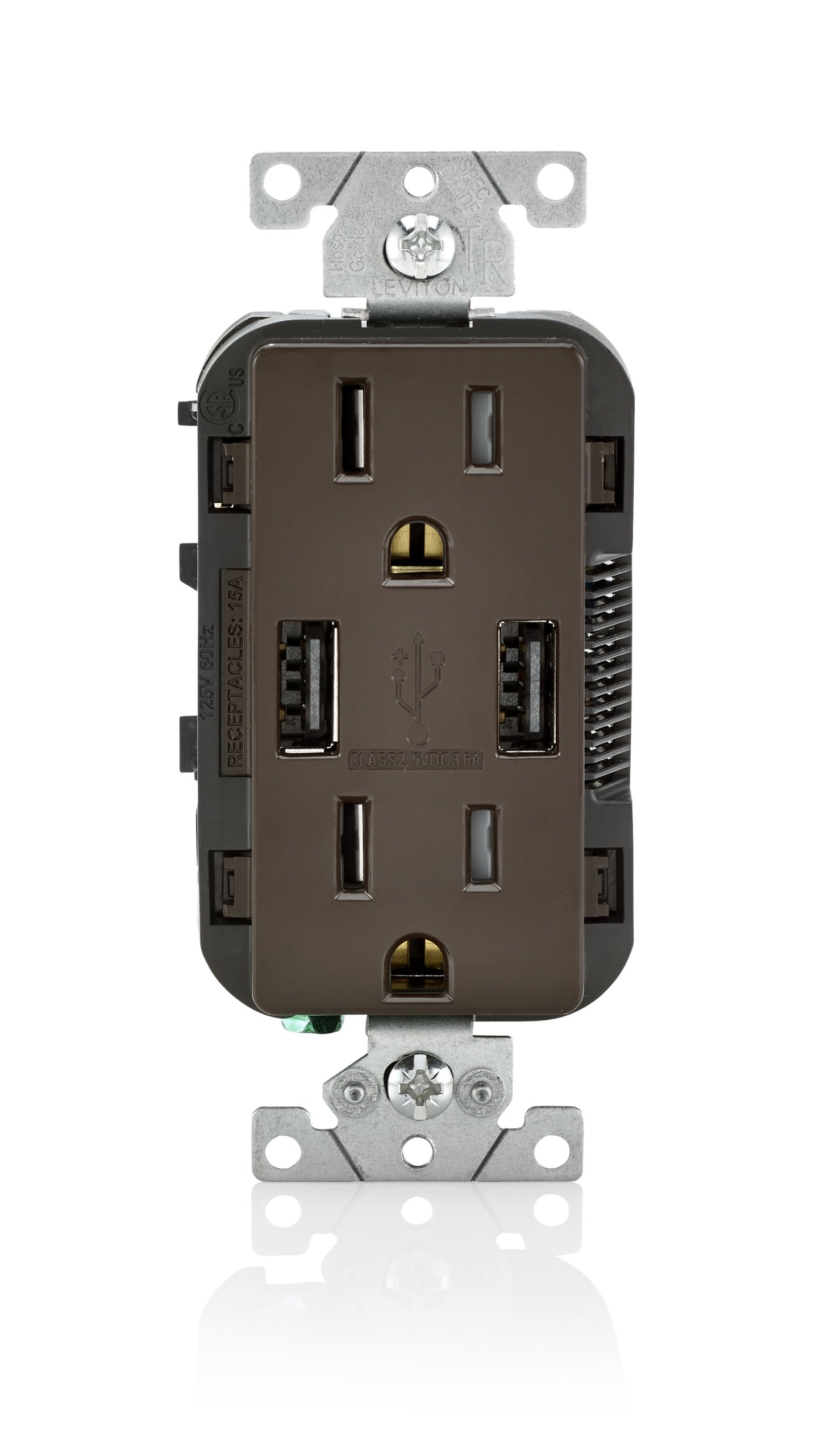 Leviton T5632 15-Amp USB Charger/Tamper Resistant Duplex Receptacle, Brown by Leviton