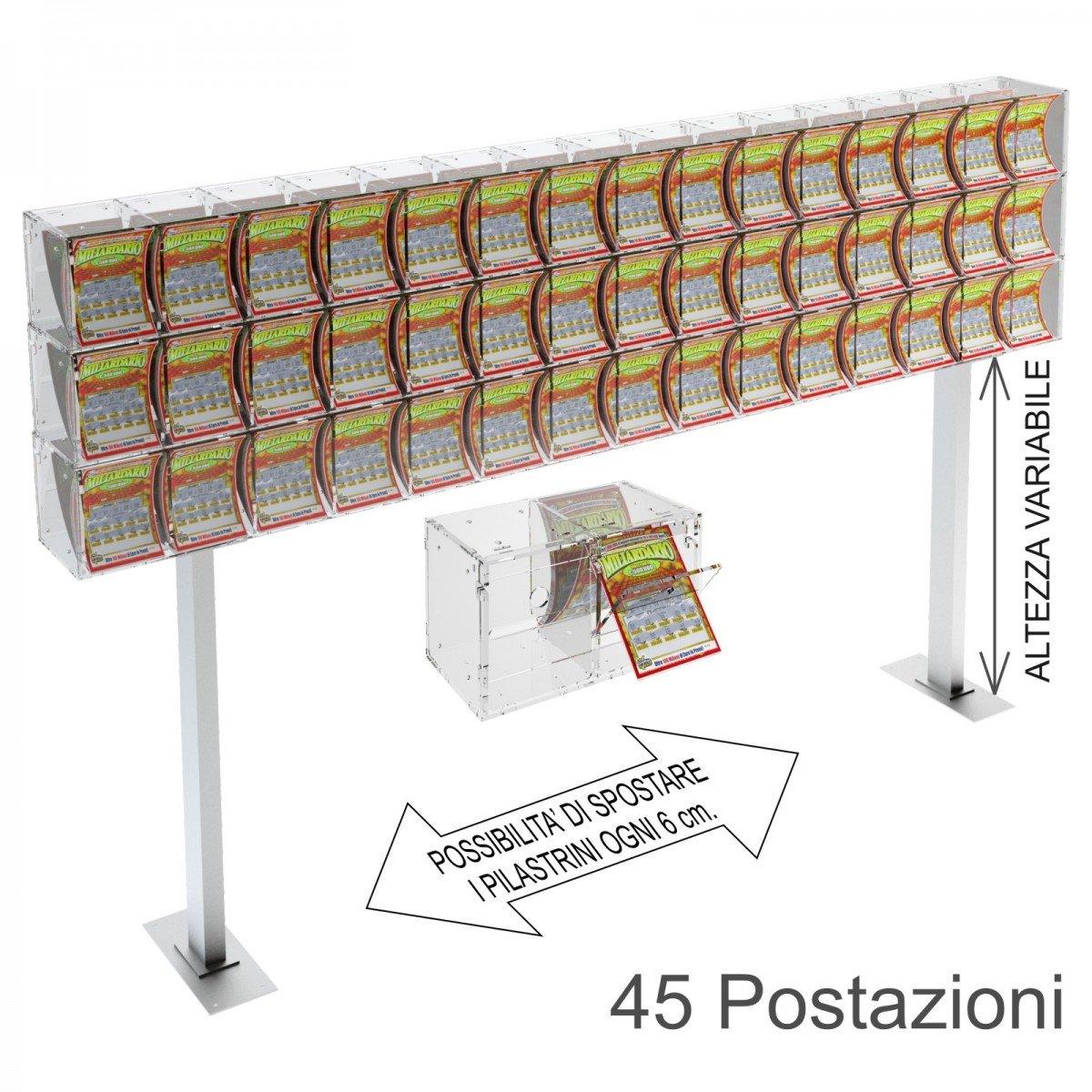 Espositore gratta e vinci da banco in plexiglass trasparente a 45 contenitori munito di sportellino frontale lato rivenditore