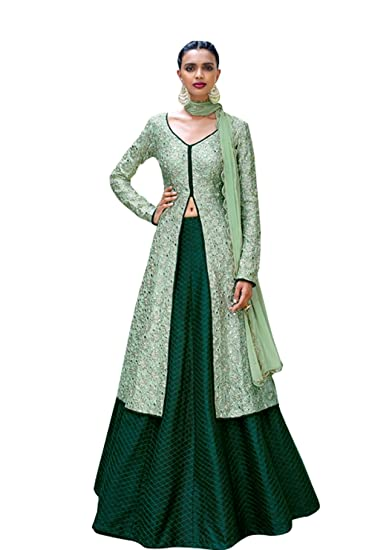 Designer Semi Stitched Pista Green Fusion Style Bhagalpuri Dress Material Dress Material at amazon