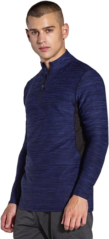 KomPrexx Longsleeve Herren Sport 1//4 Zip T-Shirt Langarm Trainingsshirt Funktionsshirt Langarmshirt Running Sweatshirt Pullover Laufshirt MC03T