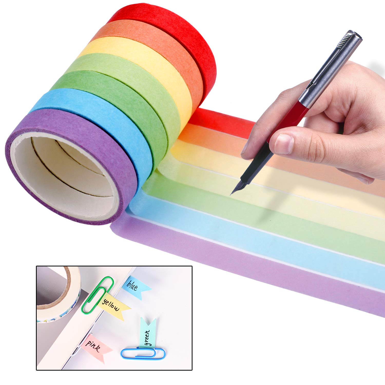 50 Rolls Rainbow Washi Masking Tape Set,Great for DIY Decor Scrapbooking Sticker Masking Paper Decoration Tape Adhesive School Supplies