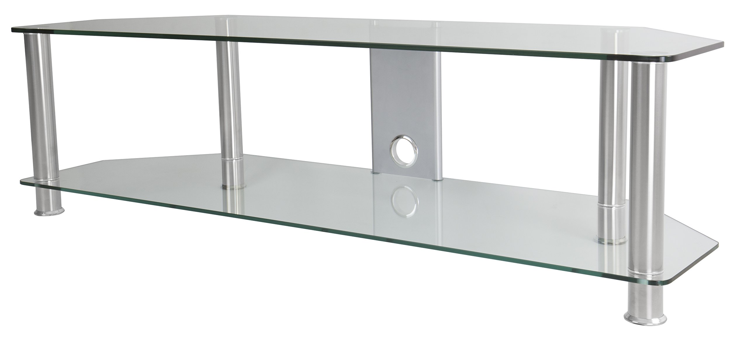 AVF SDC1400CMCC-A  TV Stand with Cable Management for up to 65-inch TVs, Clear Glass, Chrome Legs by AVF