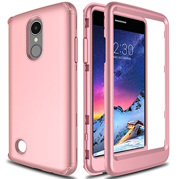 LG Aristo Case, LG Fortune Case, LG Rebel 2 Case L58VL, LG Phoenix 3 Case  AMENQ Lightweight 3 in 1 Heavy Duty Absorb Impact Touch Silicone Rubber