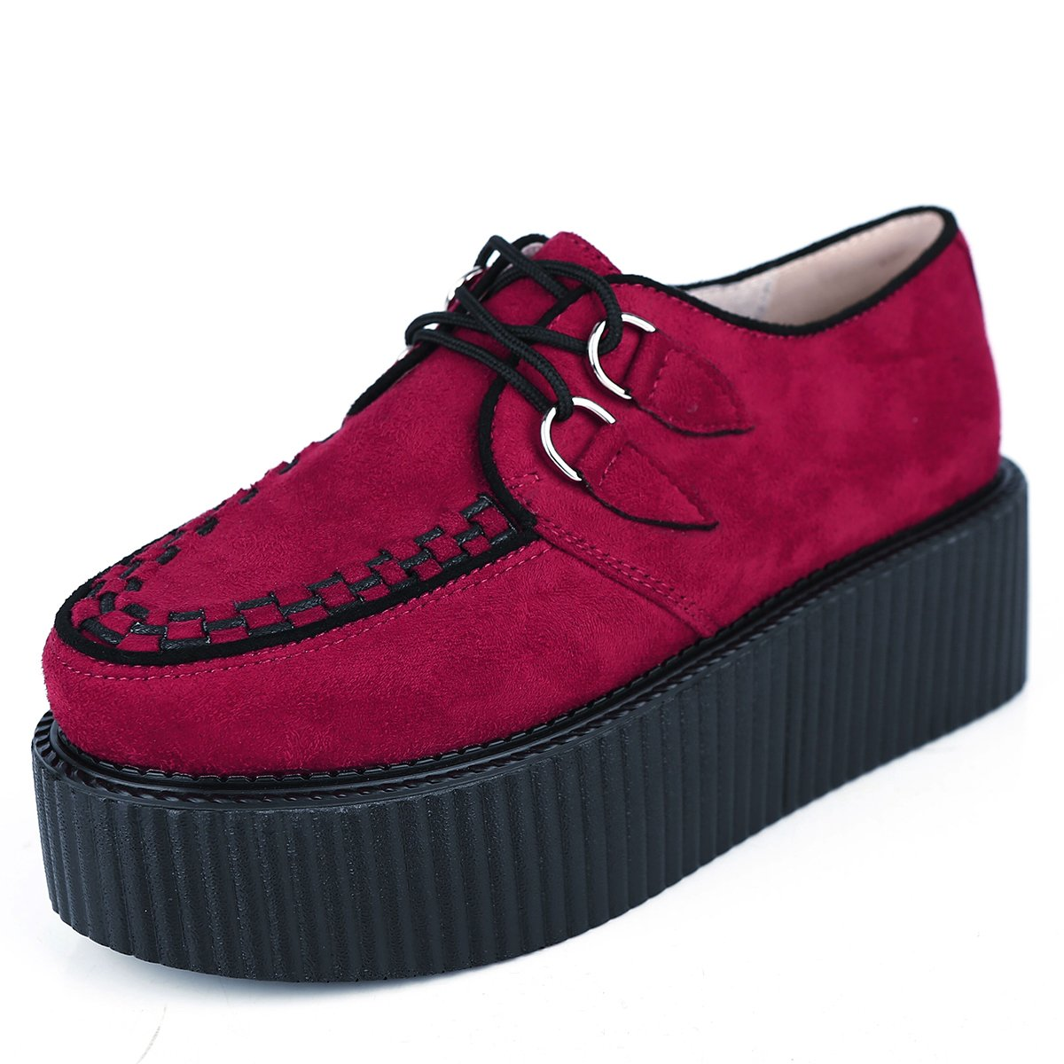 RoseG Femmes Forme Lacets Plate Forme Gothique Gothique Punk 12559 Creepers Casual Chaussures Rouge b6c7bbe - reprogrammed.space
