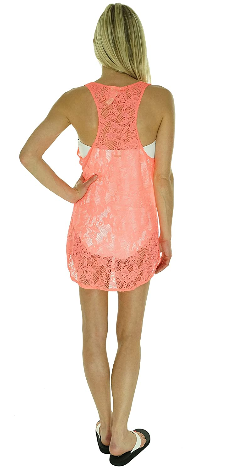a44a0dbeae Miken Crochet Lace Pullover Racerback Swimsuit Cover Up Dress Bright Coral  Small at Amazon Women s Clothing store