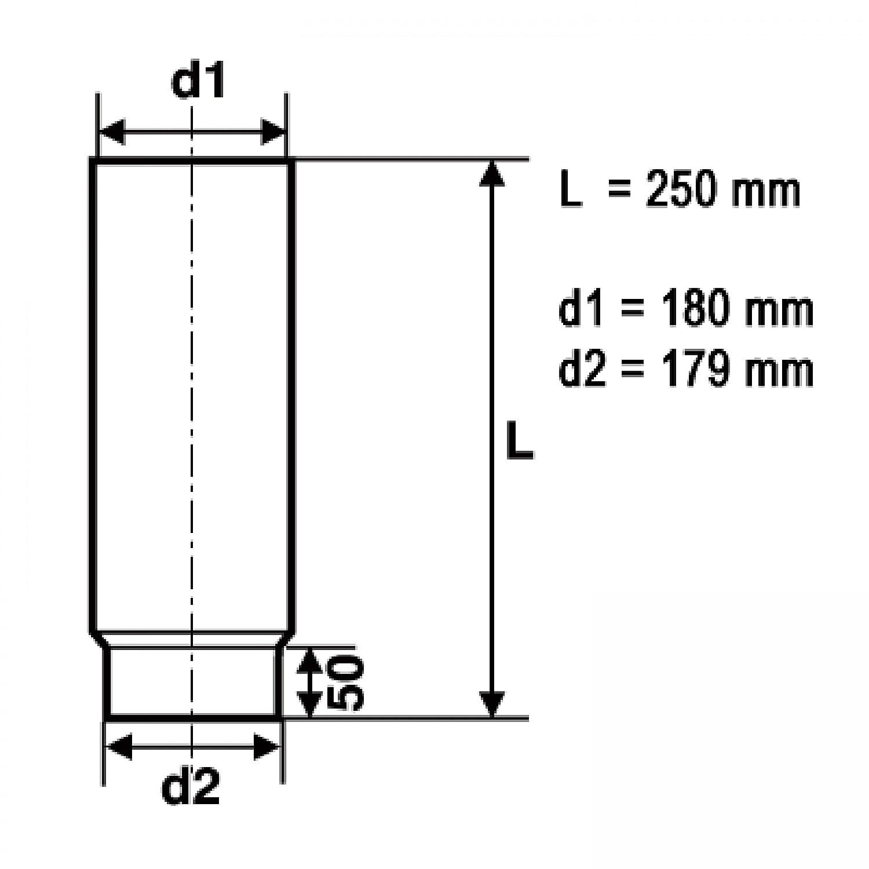 Ofenrohr 180mm 250mm schwarz raik SH004-180-sw Rauchrohr