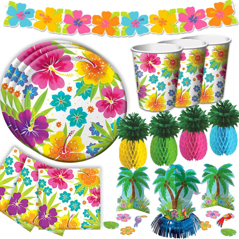 Tropical Luau Hawaiian Summer Party Supply Pack for 50 with Decorations Includes Plates, Napkins, Cups, Hibiscus Table Centerpiece, Hibiscus Garland, and Pineapple Centerpieces