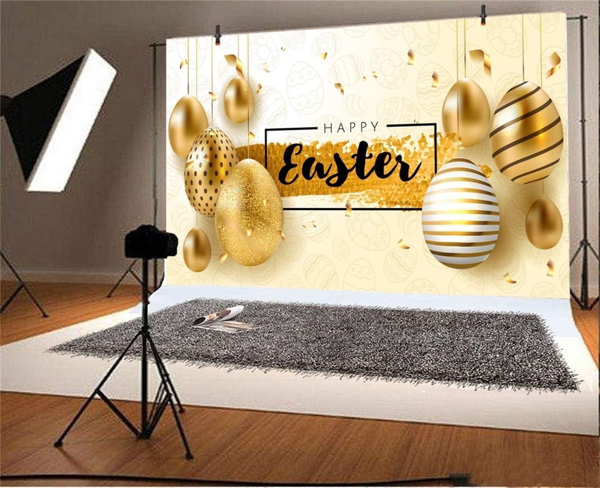 CdHBH 10x8ft Vinyl Happy Easter Photography Background Hanging Golden Easter Eggs Confetti Ornaments Eggs Illustration Backdrop Child Kids Baby Portrait Greeting Card Easter Egg Hunt Wallpaper