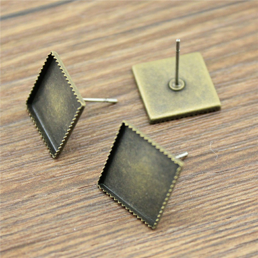 MEWME 80pcs Fashion Earring Stud Earrings Fit 12mm Square Flat Back Gemstone Cabochon Brass Cameo Base Trays Handmade Crafts Pendant Jewelry Making Supplies H284 NEWME