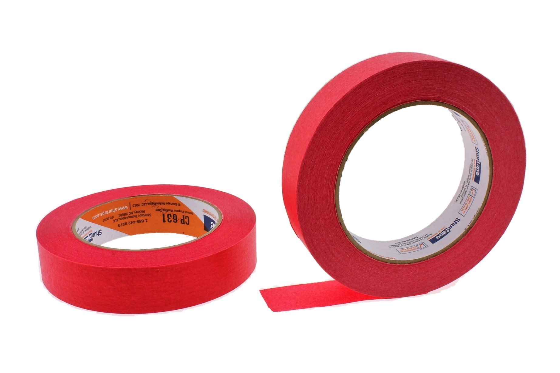2pk of 1'' in x 60yd Red Masking Tape Extra Sticky PRO Grade High Stick Special Project Painters Tape Painting Trim Arts Crafts School Home Office 21 Days 24MM x 55M .94 inch