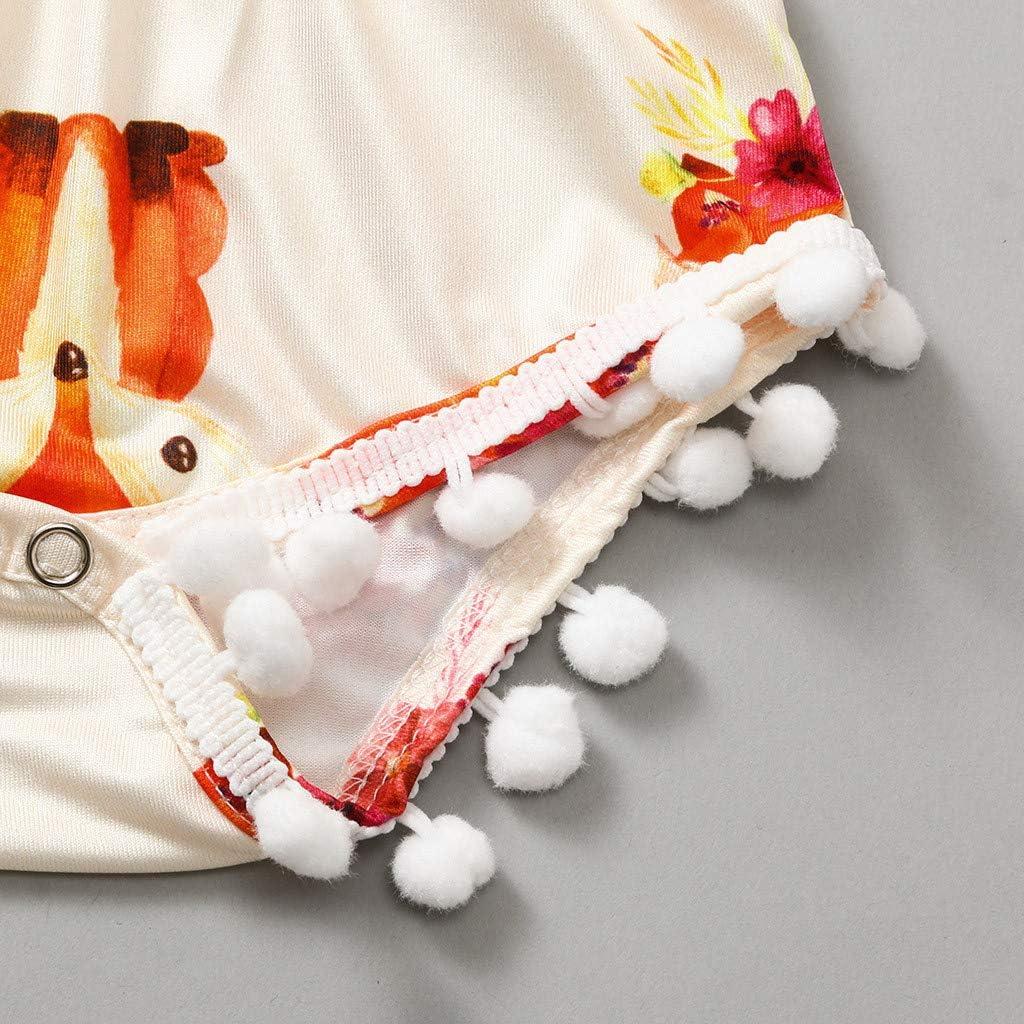 Mbby Tutine Neonata 0-18 Mesi Estivi Pagliaccetto Femmina Bambina Senza Maniche Fumetto Outfits Animale Volpe Stampa Frange Pigiama con Bottoni Tutina Body Ragazze Ragazza Bambino