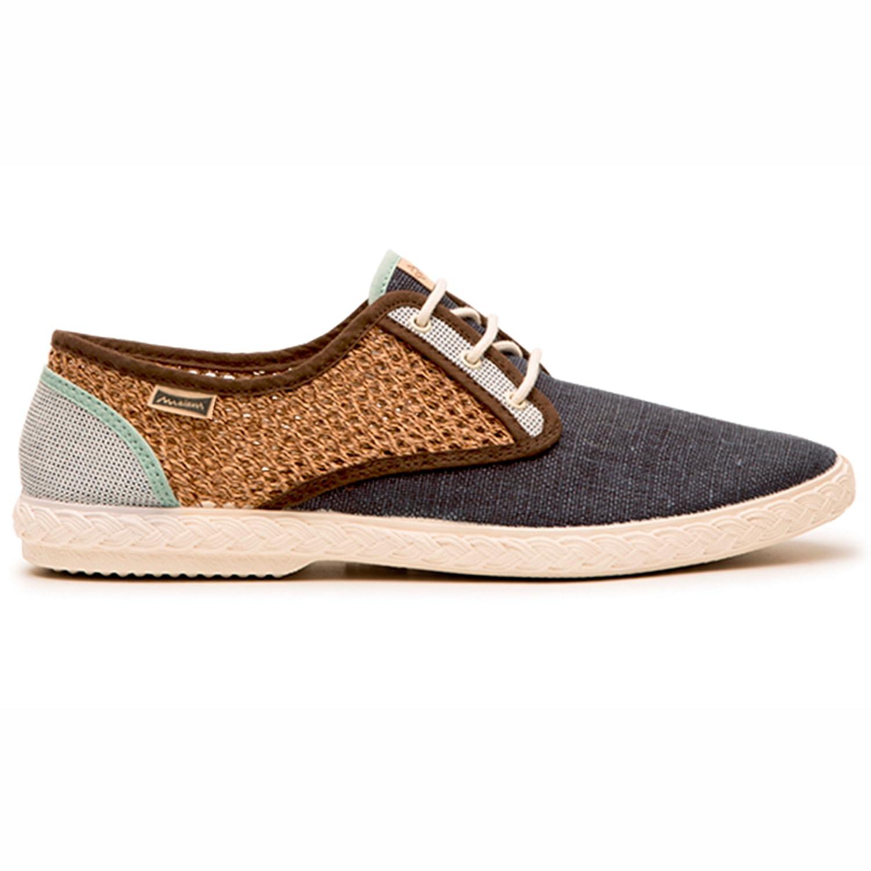 Maians. Zapatos Moda Casual para Hombre. Fabricado Artesanal. Hecho en España. Sneaker 100% Algodón 42 EU|Navy/Brown/Grey