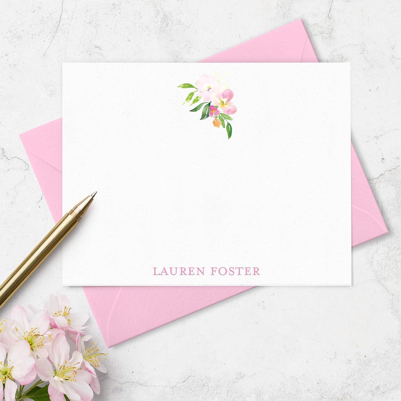 Monogram Stationery Personalized Note Card Set Custom Note Cards Personalized Stationery Set Cherry Blossom 5\u201dx7\u201d Flat Note Cards