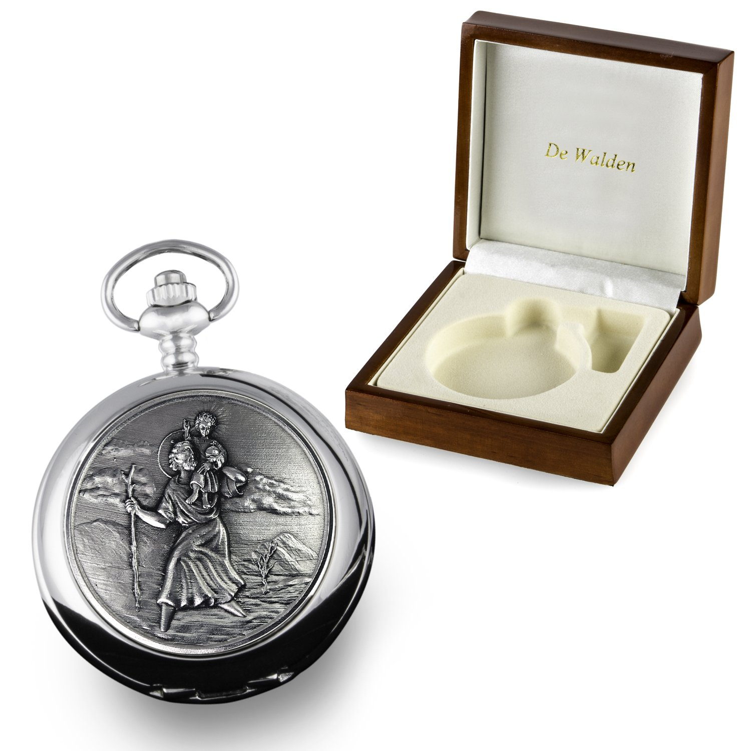 De Walden Boys Confirmation Gift, Engraved St Christopher Mother of Pearl Face Pocket Watch in a Wood Gift Box: Amazon.co.uk: Kitchen & Home
