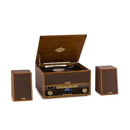 auna Belle Epoque 1910 Wood Edition - Equipo de música, Tocadiscos, Altavoces estéreo, 2X 5W RMS, Reproductor de vinilos, CD, Pletina de Casete, ...