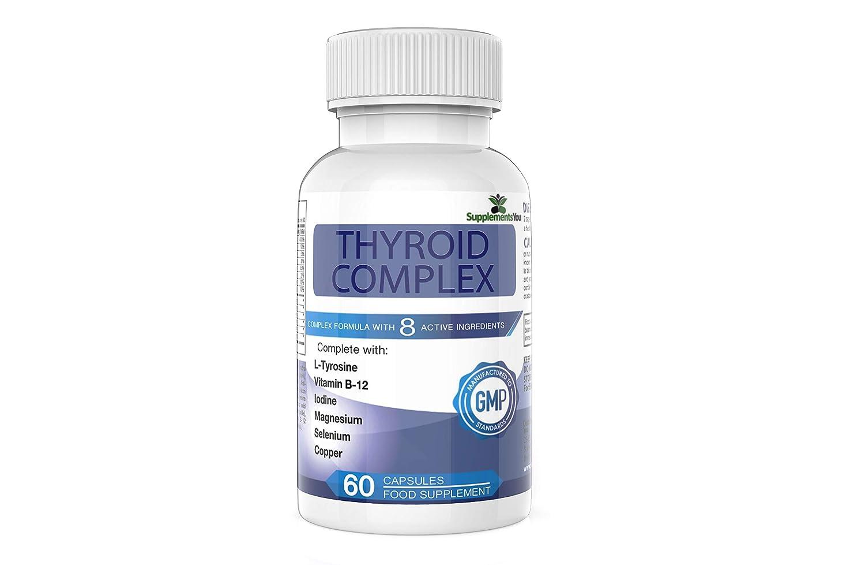 THYROID COMPLEX. 60 Suplementos Premium con 14 INGREDIENTES ACTIVOS, incluye L-Tirosina, yodo, Vitamina B12, Selenio, Alga Marina y Magnesio. 100% ...