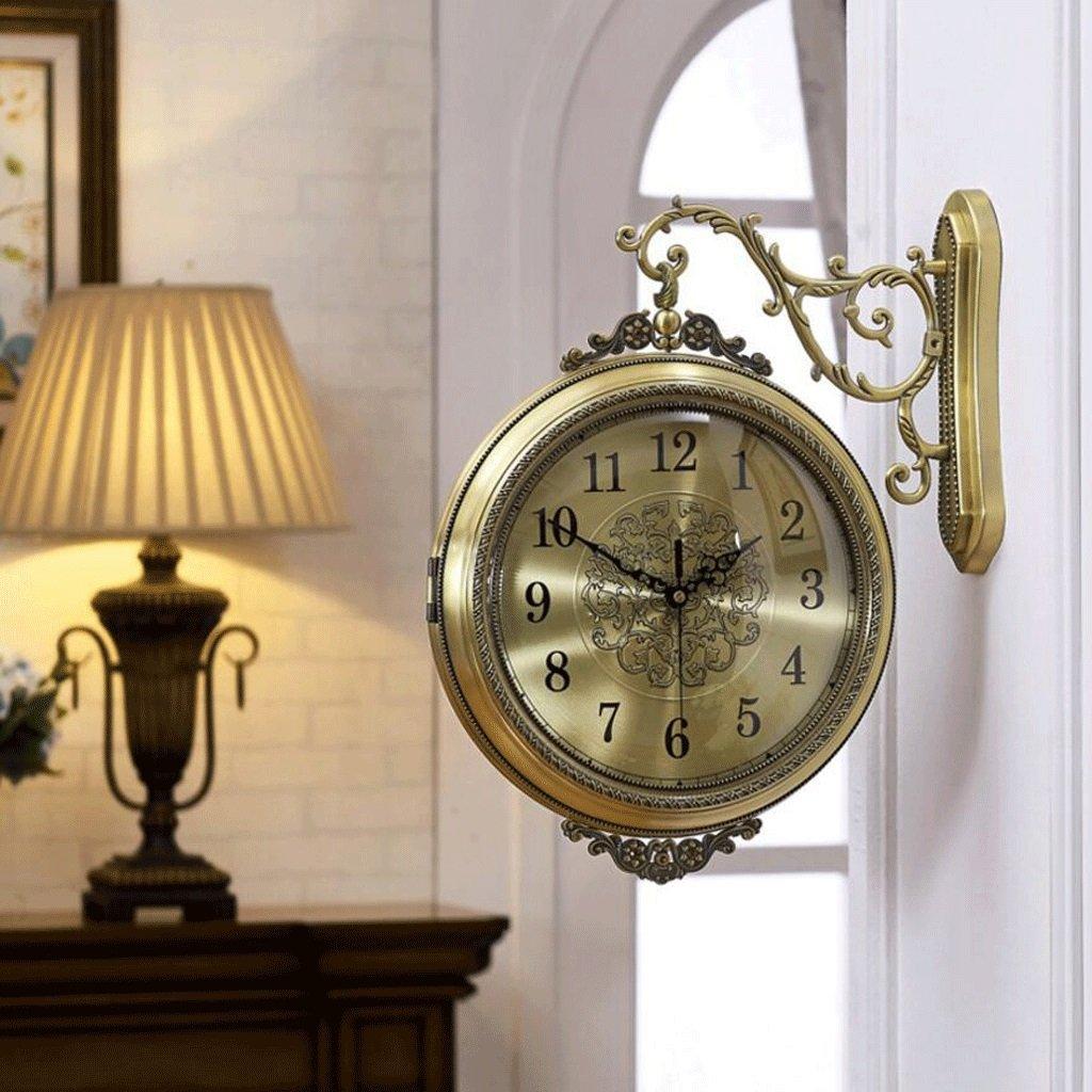 GAOLILI 新しい両面壁時計リビングルーム時計現代のソリッドウッドレストランクロックミュート両面時計 ( 色 : C ) B07C3QZM6Q C C