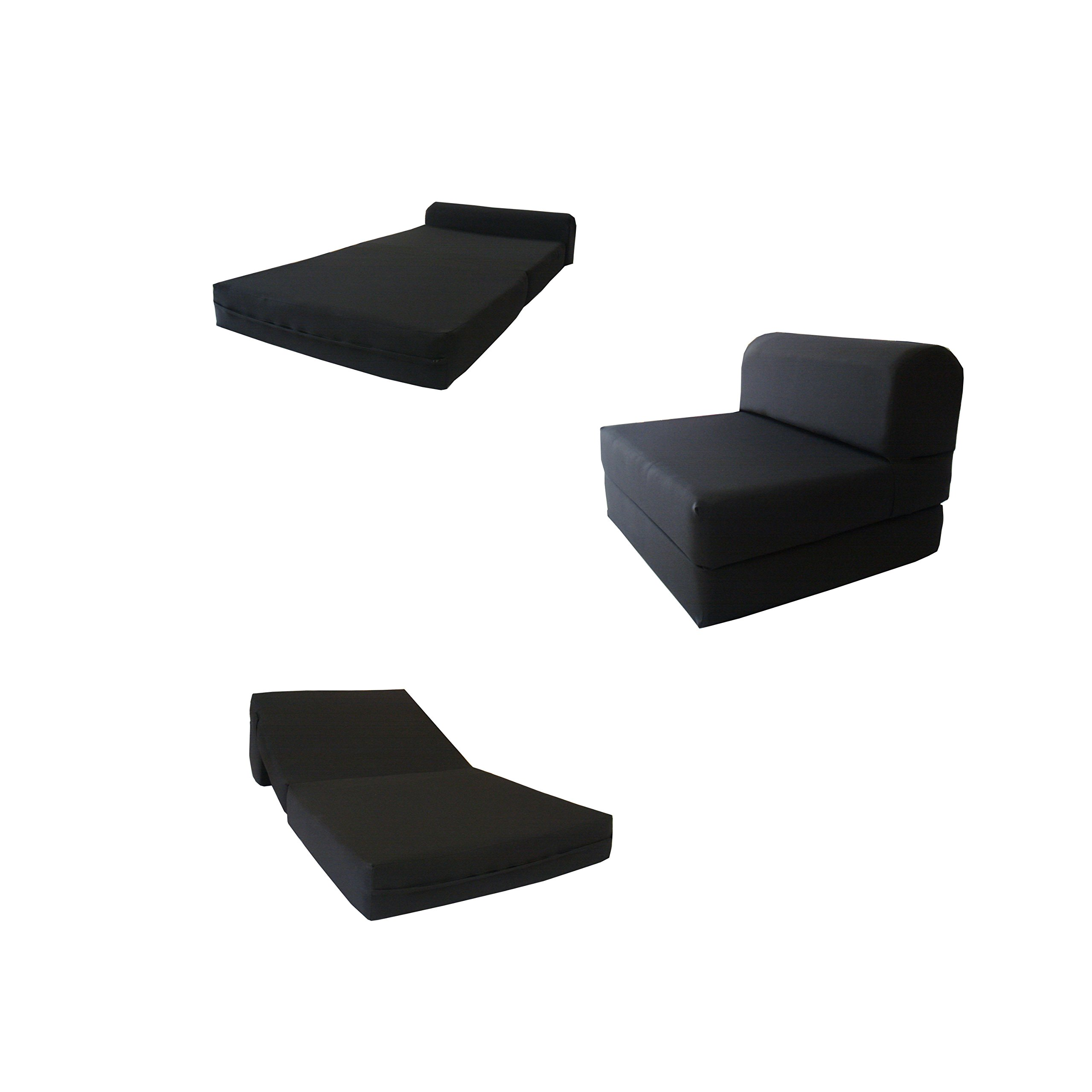 6'' Thick X 36'' Wide X 70'' Long Twin Size Black Sleeper Chair Folding Foam Bed 1.8lbs Density, Studio Guest Foldable Chair Beds, Foam Sofa, Couch.