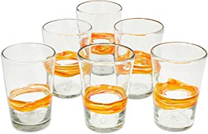 NOVICA Artisan Crafted Yellow Clear Hand Blown Recycled Glass Juice Glasses, 15 Oz. 'Ribbon Of Sunshine' (Set Of 6)