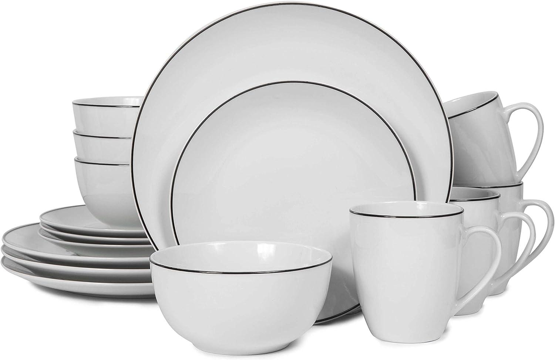 Webbyle 16-Piece Ceramic Dinnerware Set, Porcelain Service for 4 with Plates, Bowls, Mugs Setting, Microwave Safe, Dishwasher Safe,White Stripe