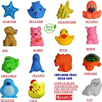 Magnifico 15 Piece Toddler Baby Bathtub Bathing Chu Chu Squeeze Bath Toys Non-Toxic BPA Free, Animal Shape