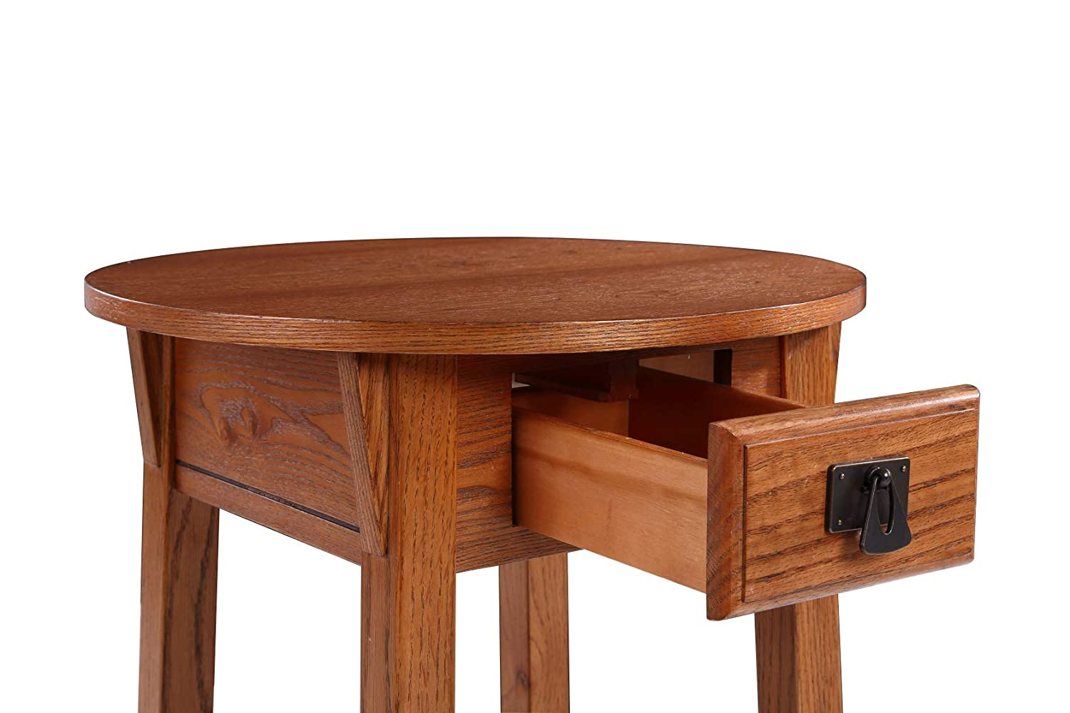 Phoenix Home Tilburg Wood End Table with Drawer and Lower Shelf Forest Oak