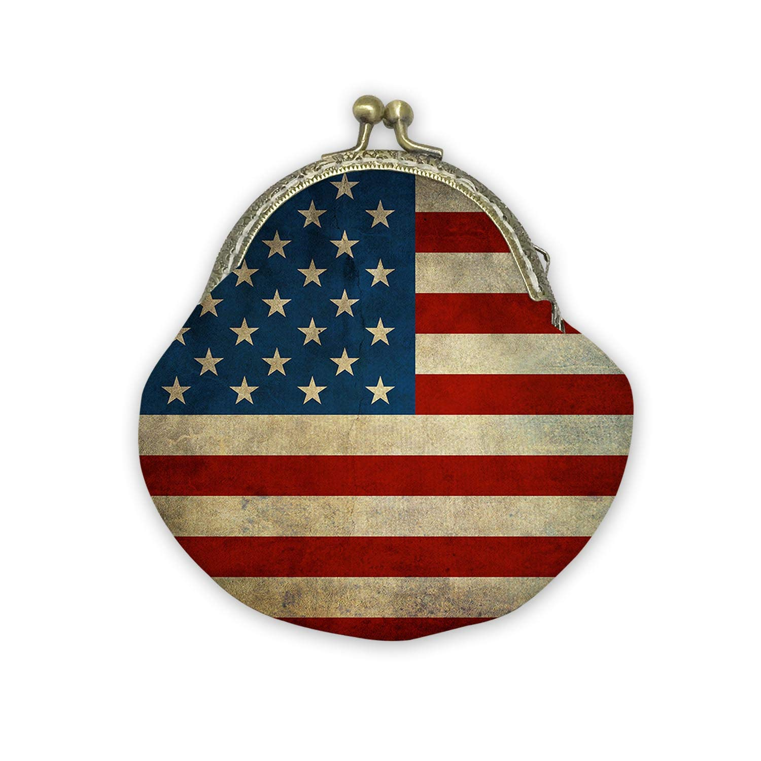 USA America Flag Mouth Gold Bag Canvas Coin Purse Cash Bag Small Purse Wallets Mini Money Bag Change Pouch Key Holder Double Sides Printing