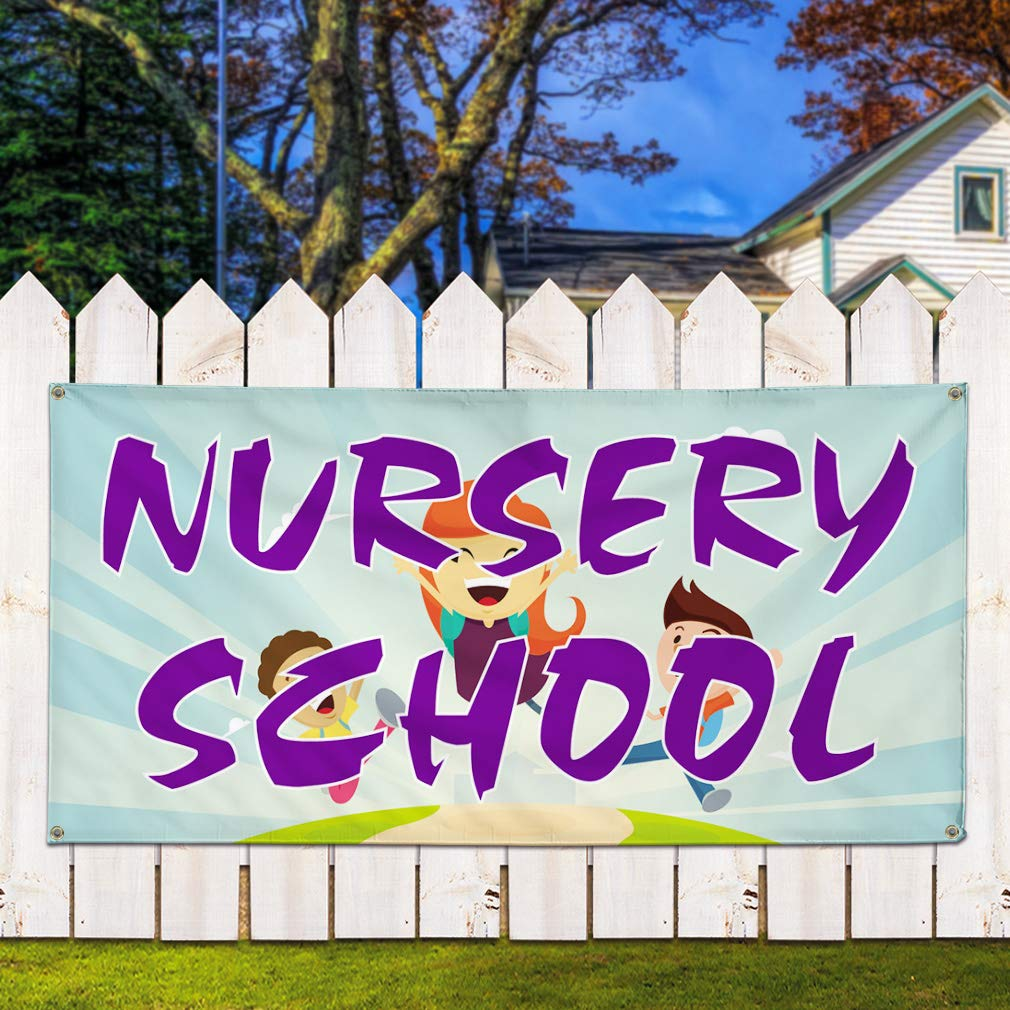 Multiple Sizes Available 8 Grommets 48inx96in Vinyl Banner Sign Nursery School #1 Style A Education Marketing Advertising Aqua-Blue One Banner