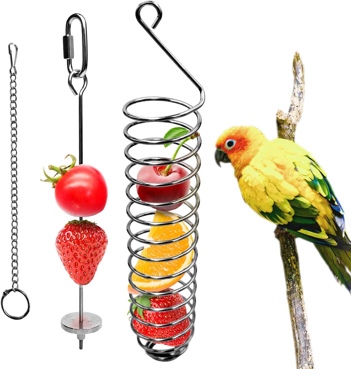 Bird Food Holder, Bird Feeder Toy, Bird Small Animal Fruit Vegetable Holder Stainless Steel Vegetable Skewer Foraging Hanging Food Feed Treating Tool for Parrots Cockatoo Cockatiel