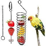 Bird Food Holder, Bird Feeder Toy, Bird Small Animal Fruit Vegetable Holder Stainless Steel Vegetable Skewer Foraging Hanging