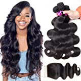 RECOOL Mink Brazilian Hair Body Wave Bundles With Closure 100 Human Hair Extensions Cheap Bundles of Hair for Sale Natural Color(14 16 18 with 14 Free Part)