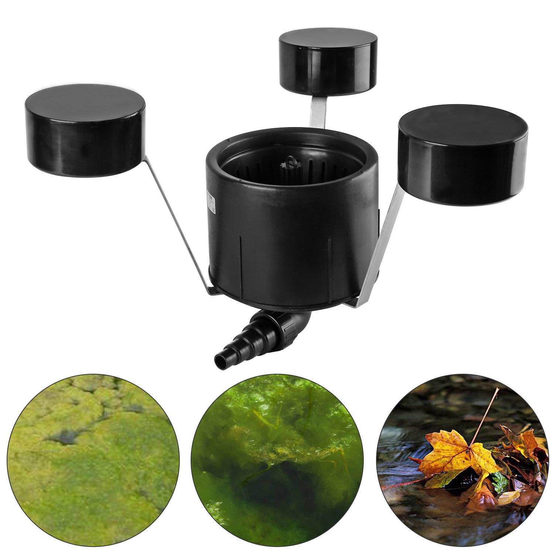everbest4u bassin skimmer 55W piscine piscine skimmer Jusqu'à 35m² avec pompe1800-5900 l/h, noir