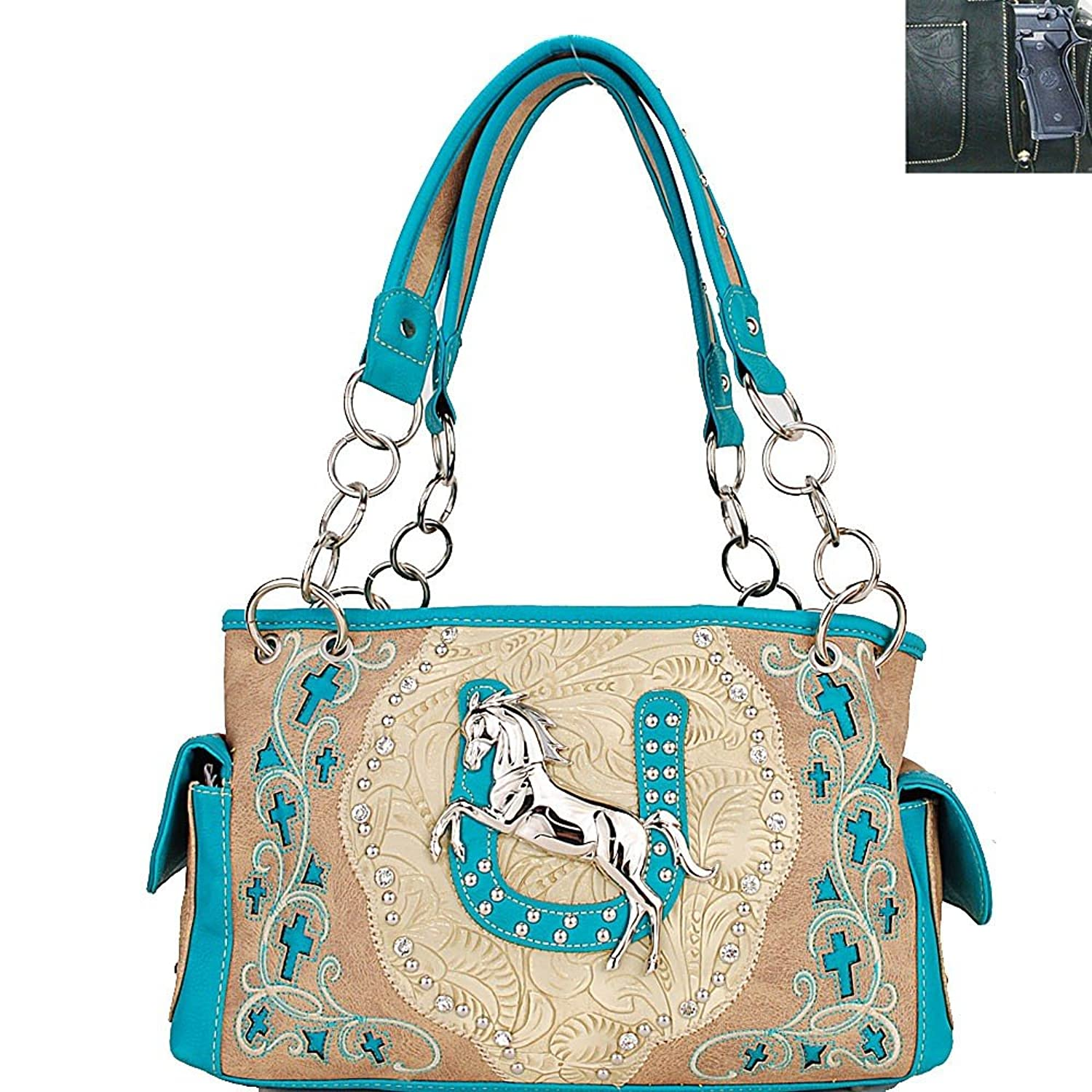 Paradise Western Concealed Carry Gun Horseshoe Horse Shoulder Bag Handbag Rhinestone Purse Or Wallet