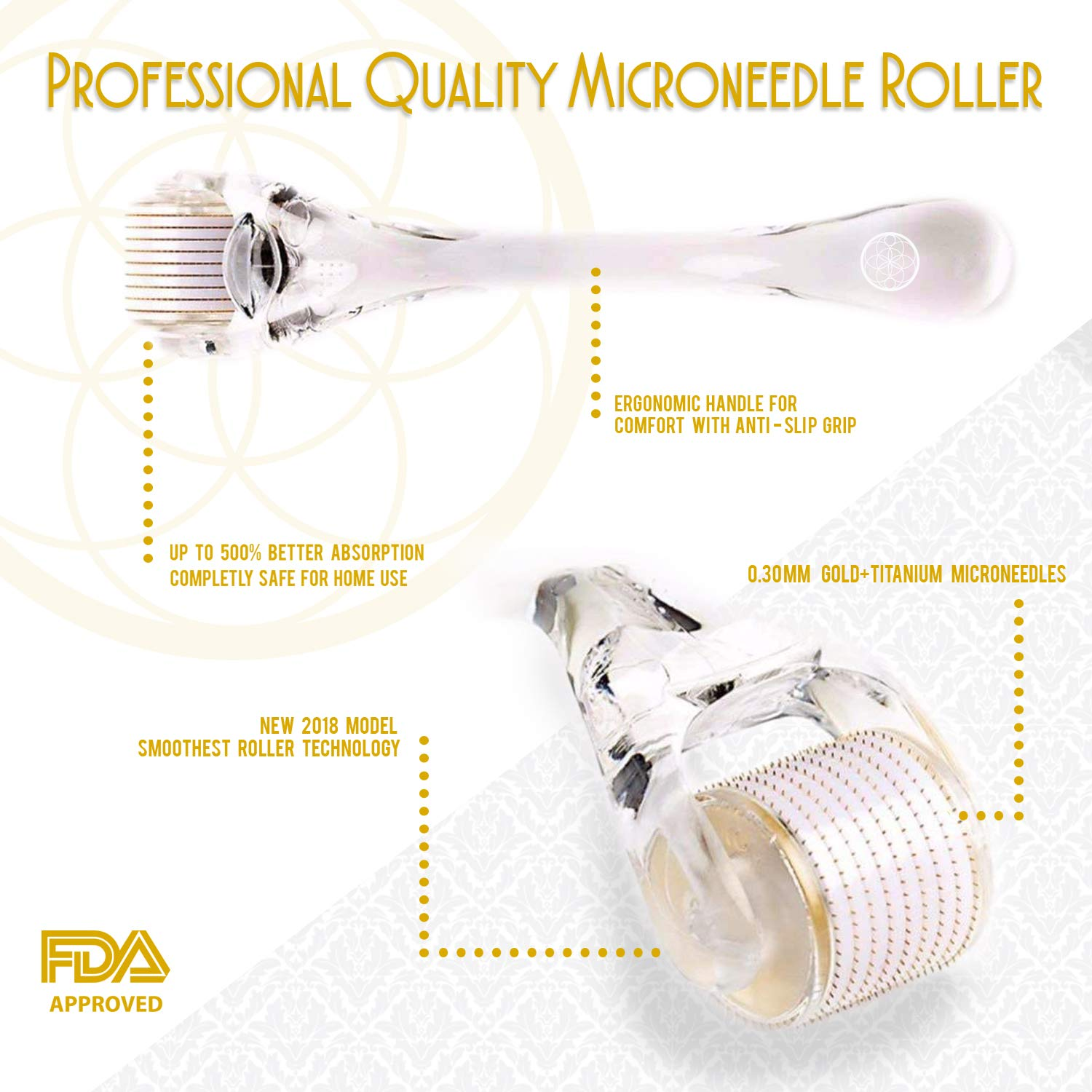 Opulent Pure Derma Roller Kit - Microneedle Roller for Face - 540 Gold Titanium Micro Needle 0.30mm - Includes Hard Case and Instructional book by Opulent Pure (Image #2)