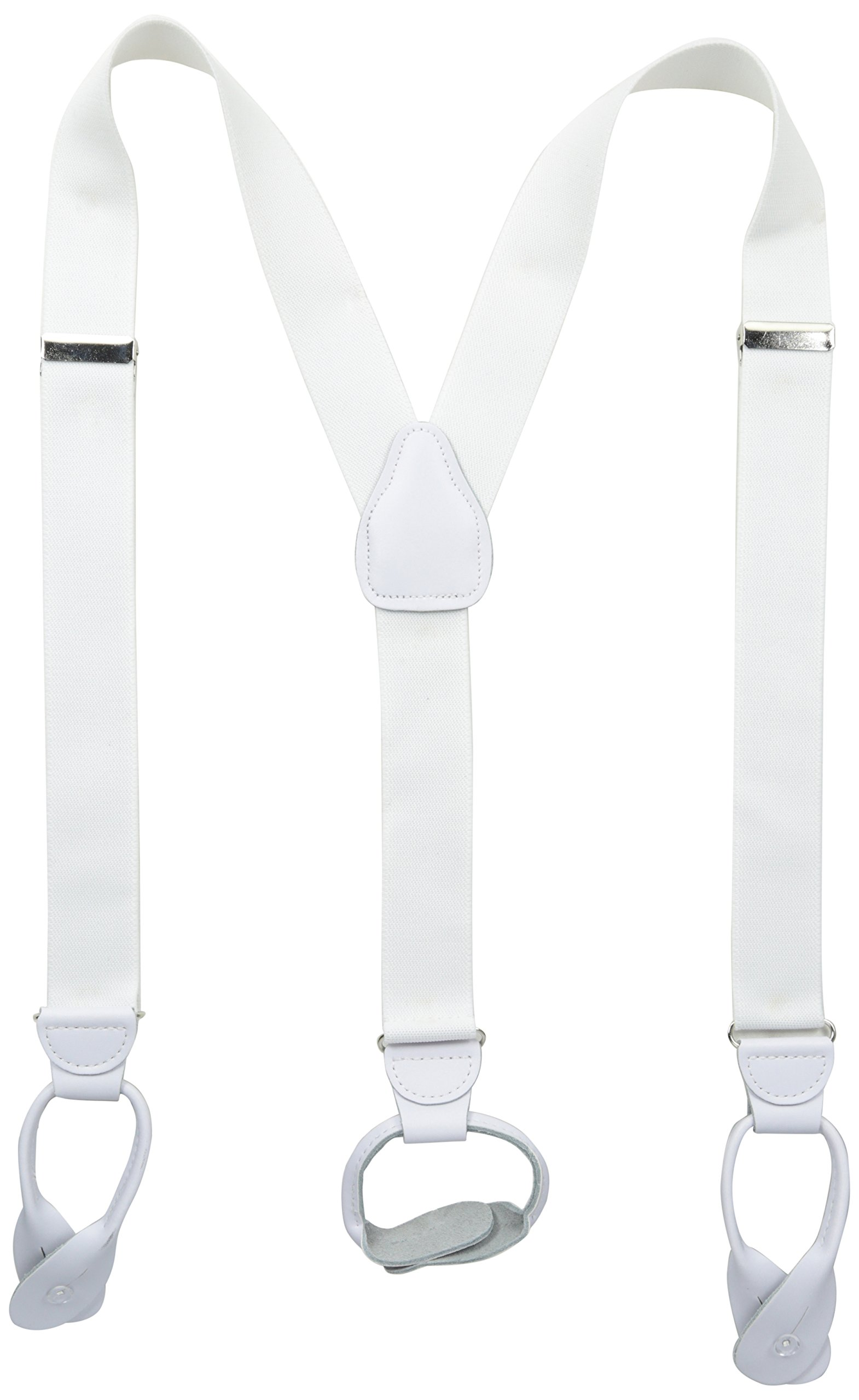 Stacy Adams Men's Button On Suspenders, White, One Size