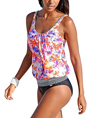 f74abb0e6d454 Feel Show Womens Padded Printed Tankini Sets Two Piece Floral Bathing Suit  Swimsuit Brazilian Bikinis at Amazon Women s Clothing store