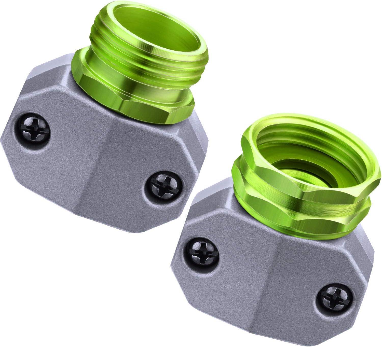 Garden Hose Connector Kit Water Hose Repair Fittings Aluminum Male Female Hose Repair Mender End for 3/4 Inch or 5/8 Inch Garden Hose Connector Replacement (Green)