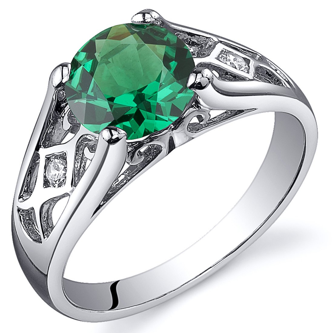 Simulated Emerald Cathedral Ring Sterling Silver Sizes 5 to 9 Peora