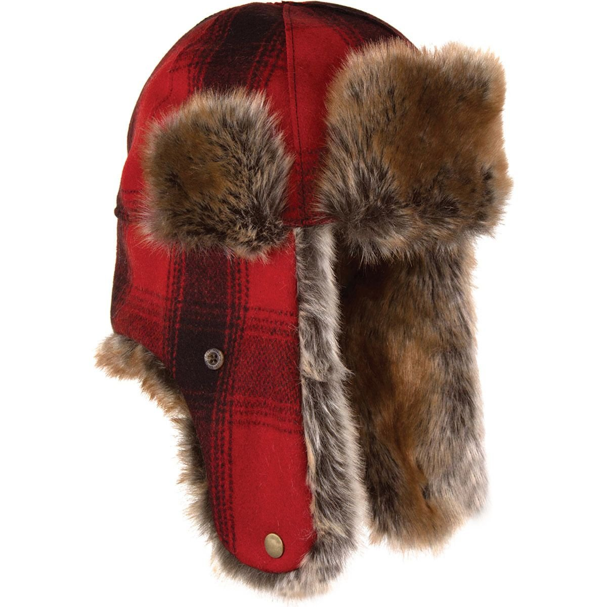 Stormy Kromer Mercantile The Northwoods Trapper Hat Red/Black Plaid, XL