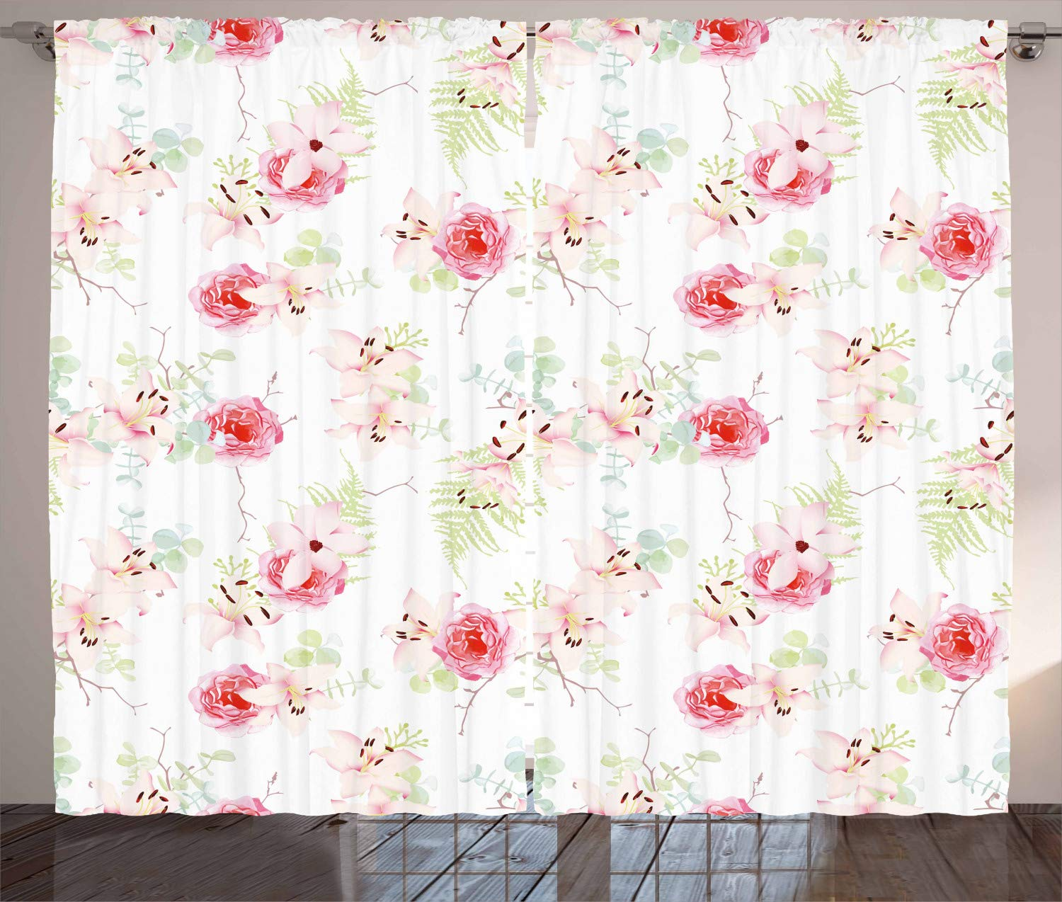 Amazon Ambesonne Floral Curtains Lily Flowers Bouquet With