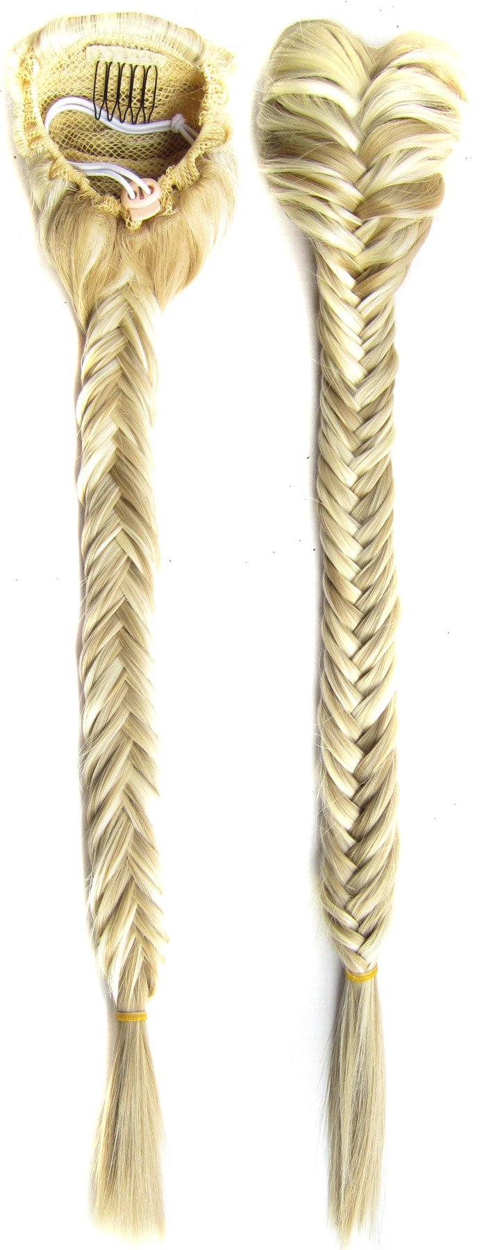 SWACC Long Fishtail Braid Ponytail Extension Synthetic Clip in Drawstring Ponytail Hairpiece (Beige/Blonde Mixed-F24/613)