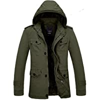 Men's Winter Warm Thicken Outdoor Military Hooded Coat Jacket Faux Fur Lined Outwear Parka Coat