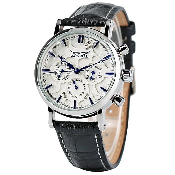Lujo de la mujer automático mecánica relojes acero inoxidable caso día fecha correa de piel pulsera para mujer: Amazon.es: Relojes