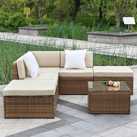 IKAYAA H0065 - Conjunto de Muebles de Jardín Patio Terraza Aire Libre (1 sofá de esquina+2 medios sofás+2 otomanas+1 tabla),Color Café