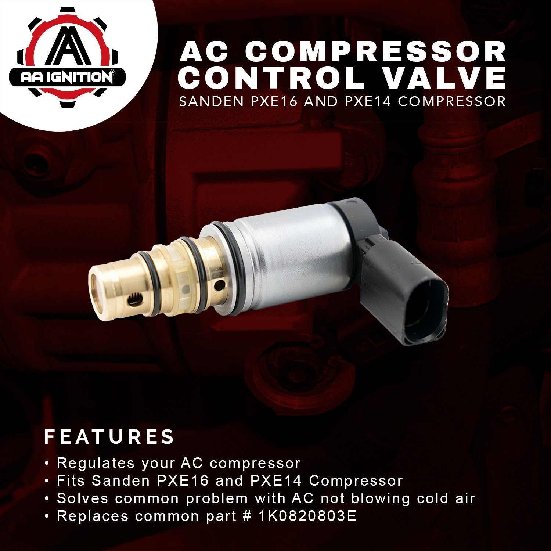 Ac Compressor Control Solenoid Valve Fits Volkswagen 2006 Vw Pat Starter Wiring Diagram Jetta Sanden Pxe16 Pxe14 1k0820803e Gti Golf Passat Tiguan Tdi And More
