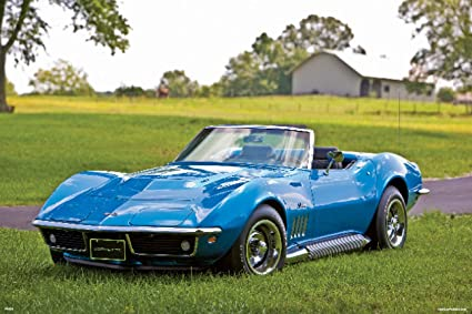 Amazon com: 1969 Blue Chevrolet Corvette C3 427 Poster