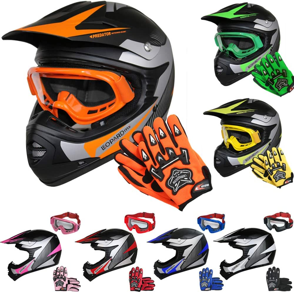 Leopard LEO-X19 Casco de Motocross para Niños Naranja L (53-54cm) y Guantes y L(7cm) Gafas ECE Homologado